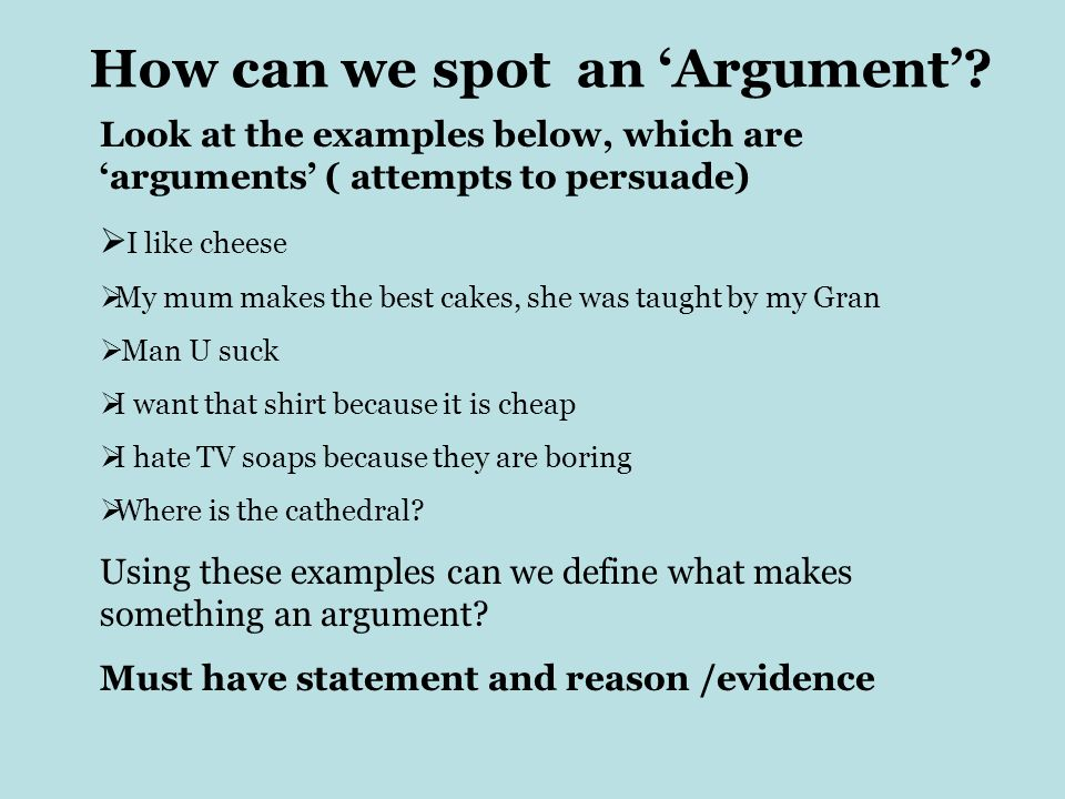 How can we spot an 'Argument'