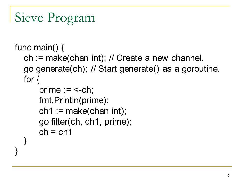 Sieve Program