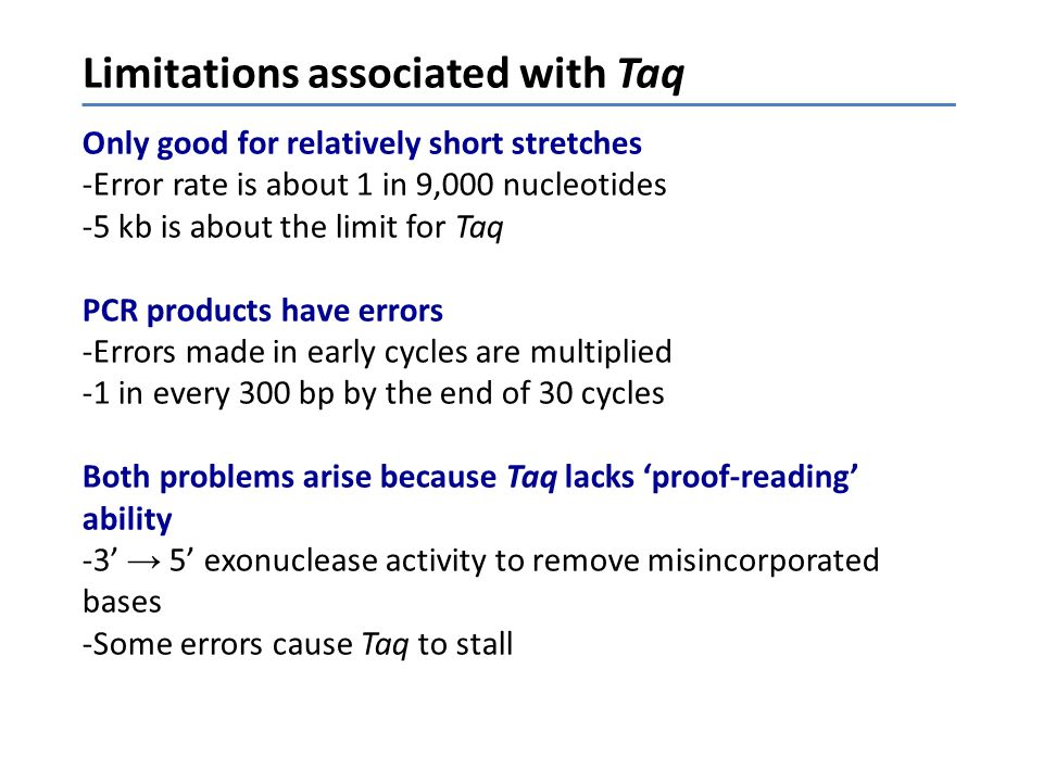 Limitations associated with Taq