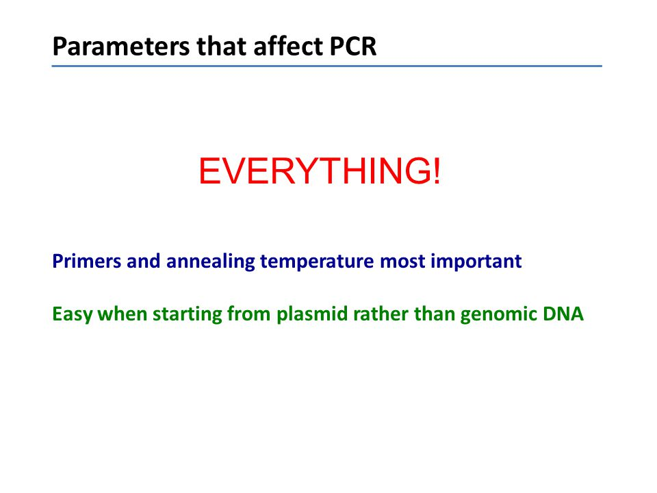 EVERYTHING! Parameters that affect PCR
