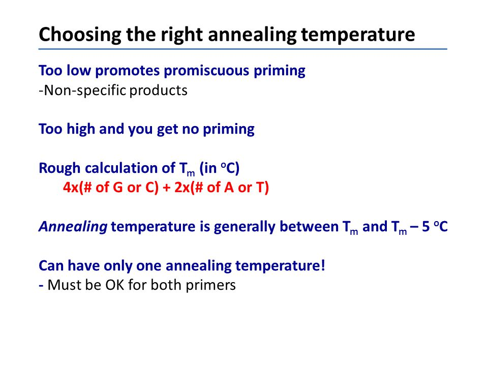 Choosing the right annealing temperature