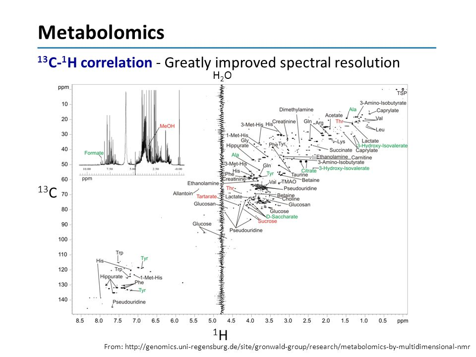 Metabolomics 13C-1H correlation - Greatly improved spectral resolution