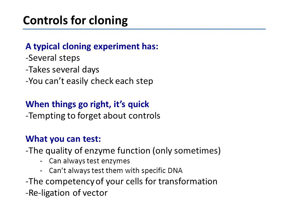 Controls for cloning A typical cloning experiment has: Several steps
