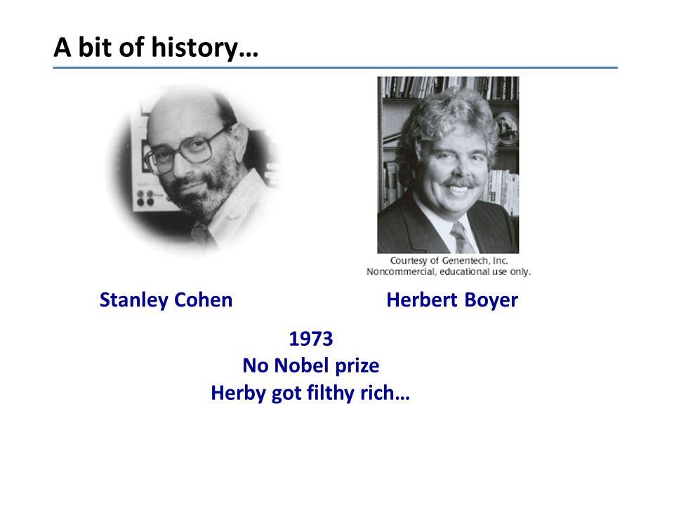 A bit of history… Stanley Cohen Herbert Boyer 1973 No Nobel prize