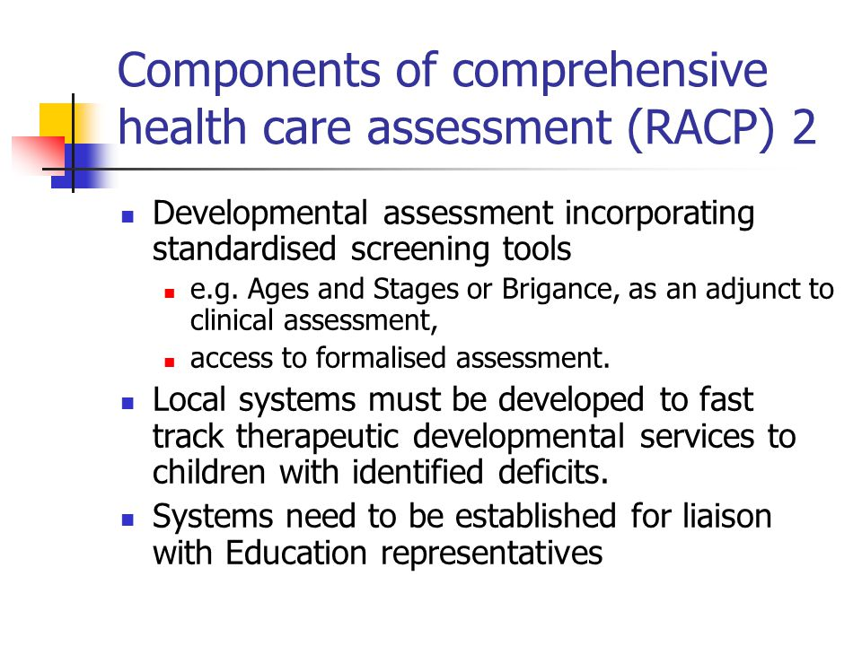 Components of comprehensive health care assessment (RACP) 2