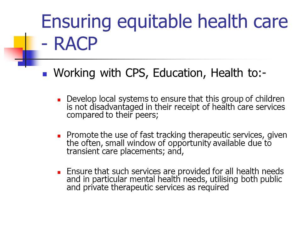 Ensuring equitable health care - RACP