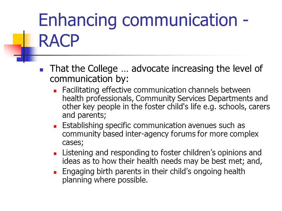 Enhancing communication - RACP