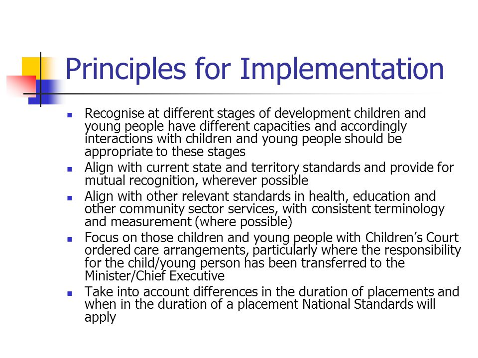 Principles for Implementation