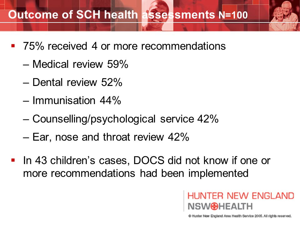 Outcome of SCH health assessments N=100