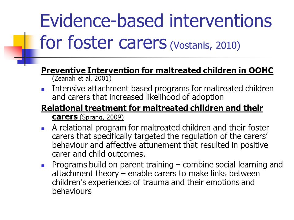 Evidence-based interventions for foster carers (Vostanis, 2010)