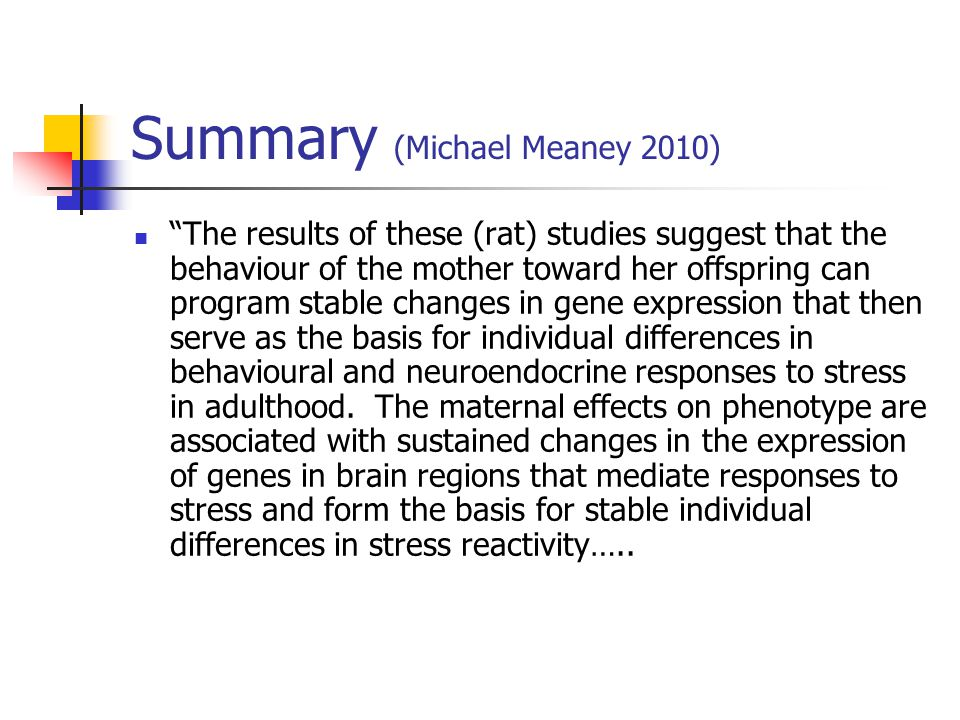 Summary (Michael Meaney 2010)