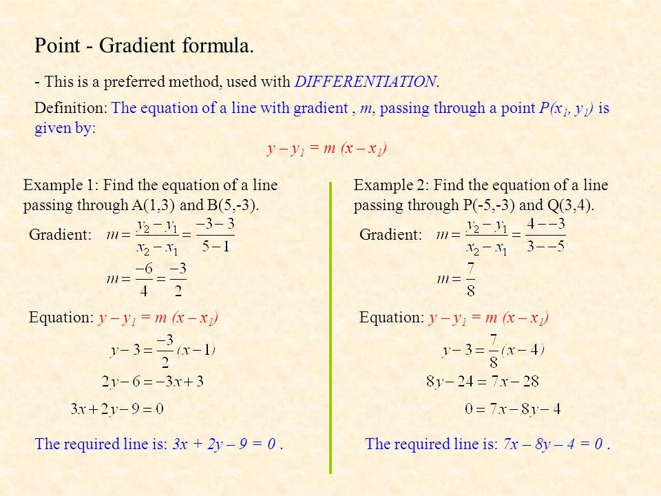 Point - Gradient formula.