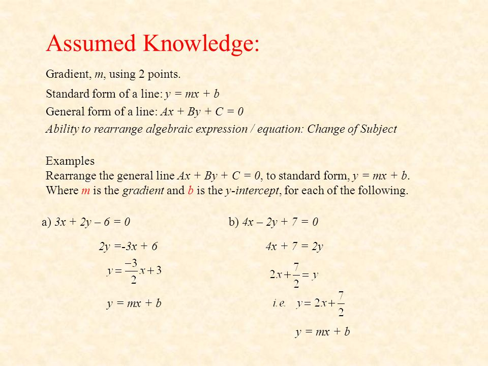Assumed Knowledge: Gradient, m, using 2 points.