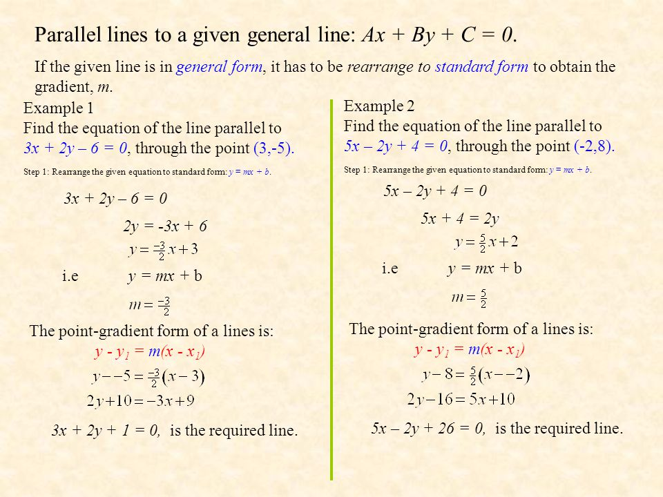 Parallel lines to a given general line: Ax + By + C = 0.