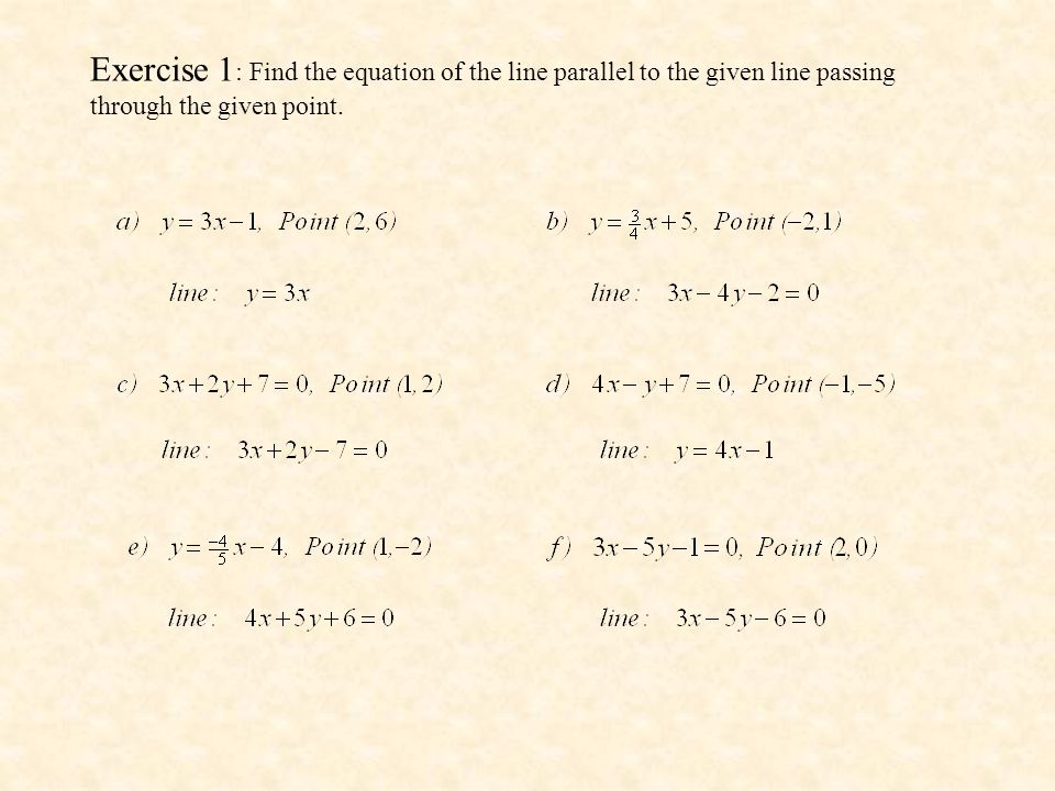Exercise 1: Find the equation of the line parallel to the given line passing through the given point.