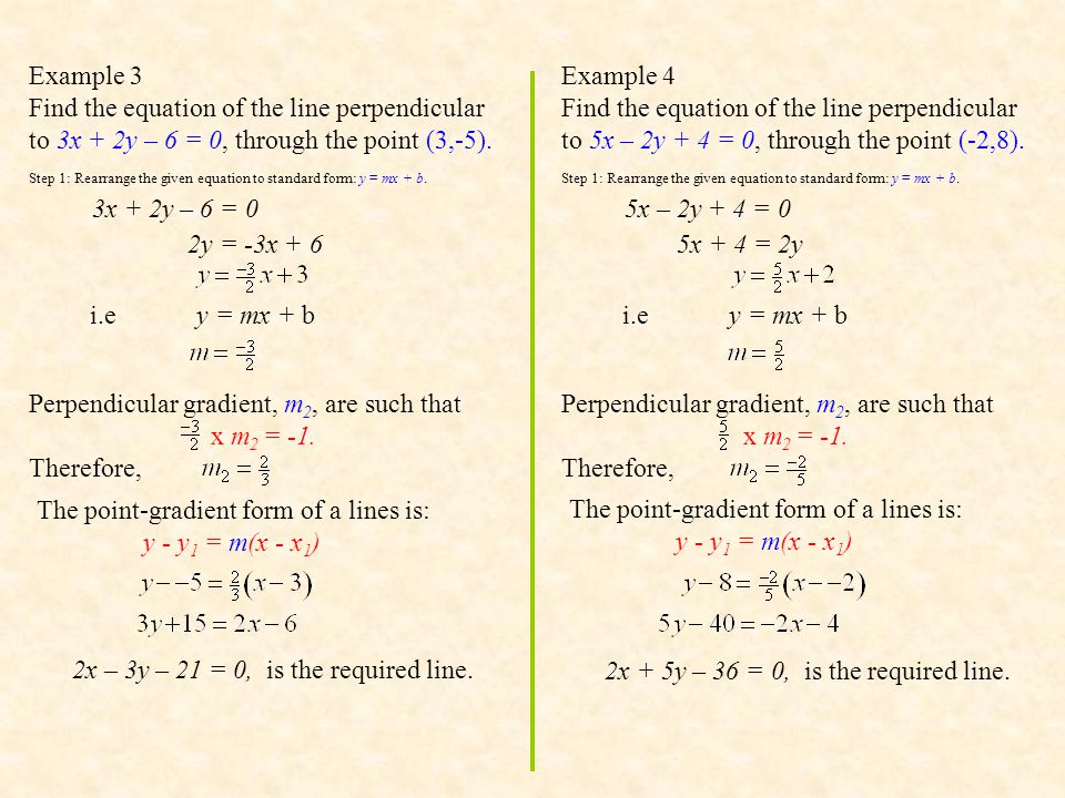 Perpendicular gradient, m2, are such that x m2 = -1. Therefore,