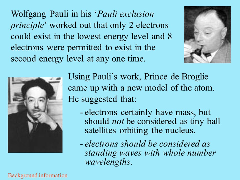 Wolfgang Pauli in his 'Pauli exclusion principle' worked out that only 2 electrons could exist in the lowest energy level and 8 electrons were permitted to exist in the second energy level at any one time.