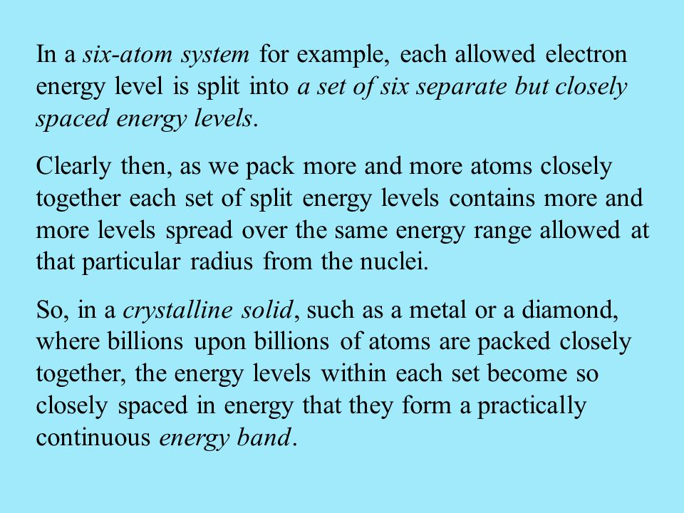 In a six-atom system for example, each allowed electron energy level is split into a set of six separate but closely spaced energy levels.