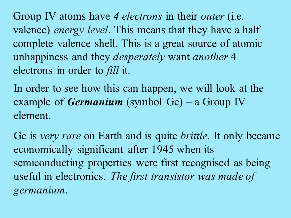 Group IV atoms have 4 electrons in their outer (i. e