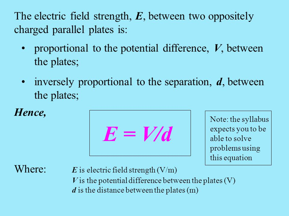 The electric field strength, E, between two oppositely charged parallel plates is: