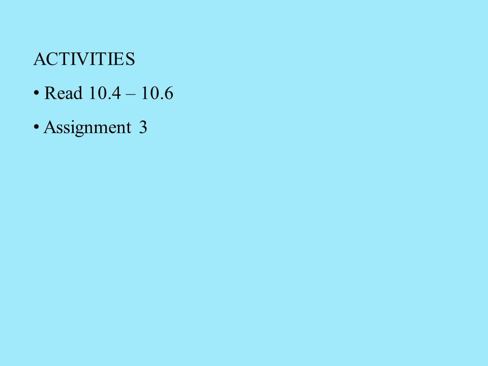 ACTIVITIES Read 10.4 – 10.6 Assignment 3