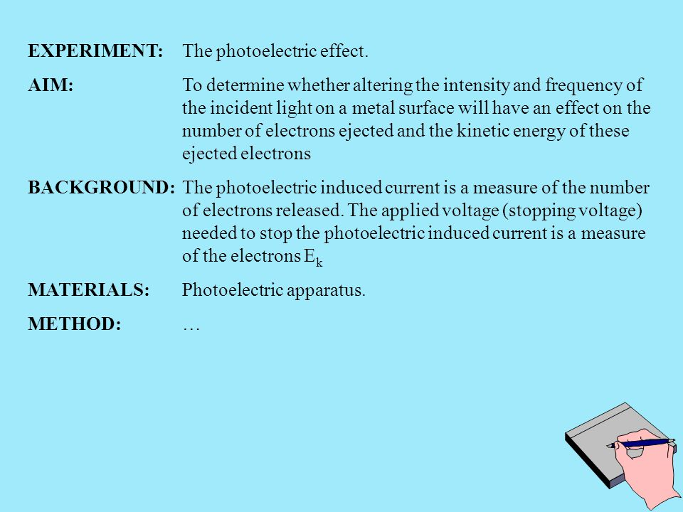 EXPERIMENT: The photoelectric effect.