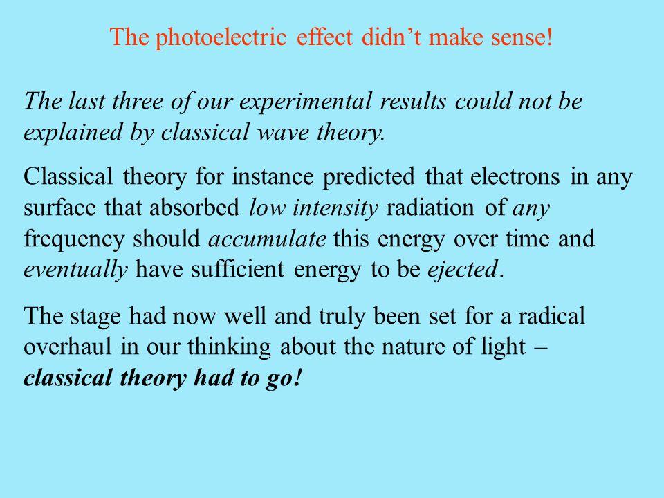 The photoelectric effect didn't make sense!