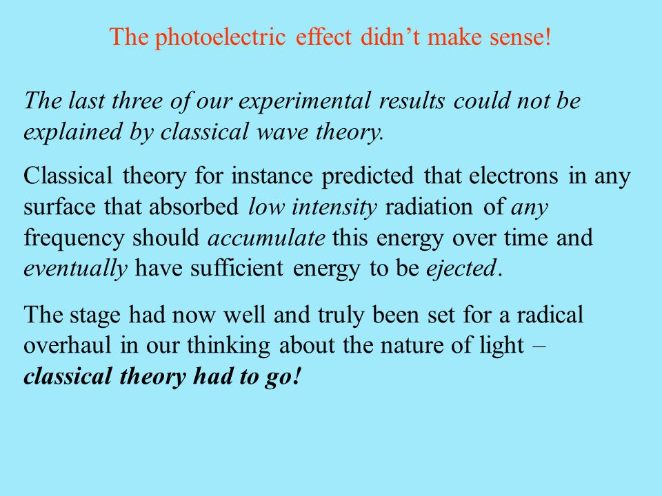 The photoelectric effect didn't make sense!