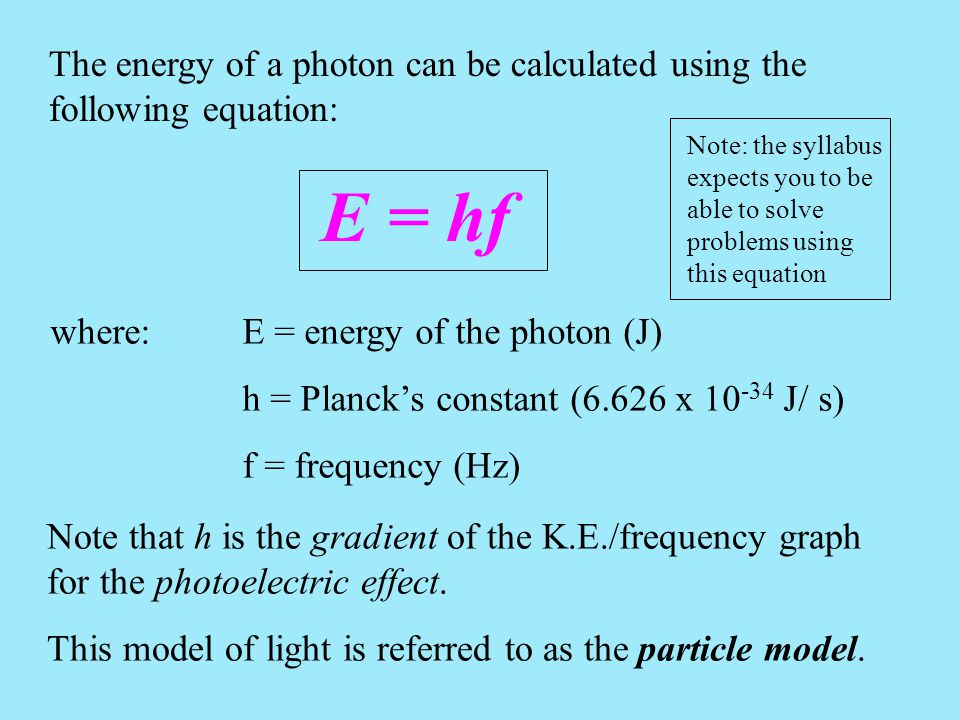 The energy of a photon can be calculated using the following equation: