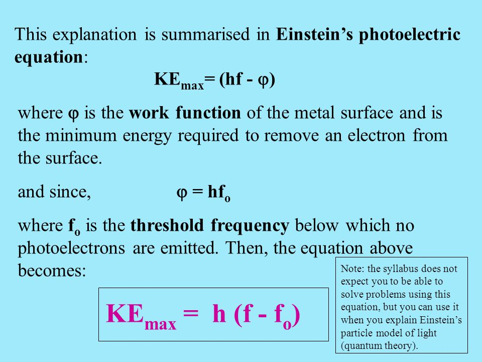 This explanation is summarised in Einstein's photoelectric equation: