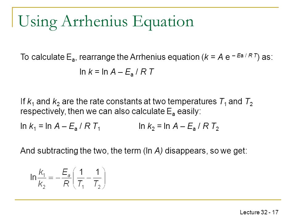 Using Arrhenius Equation