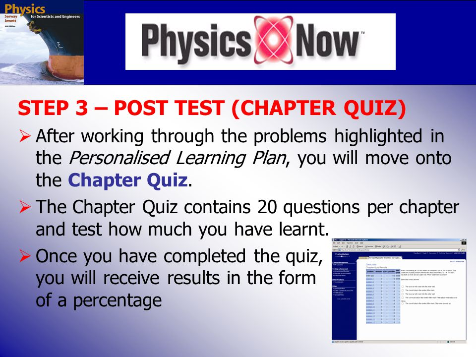 STEP 3 – POST TEST (CHAPTER QUIZ)