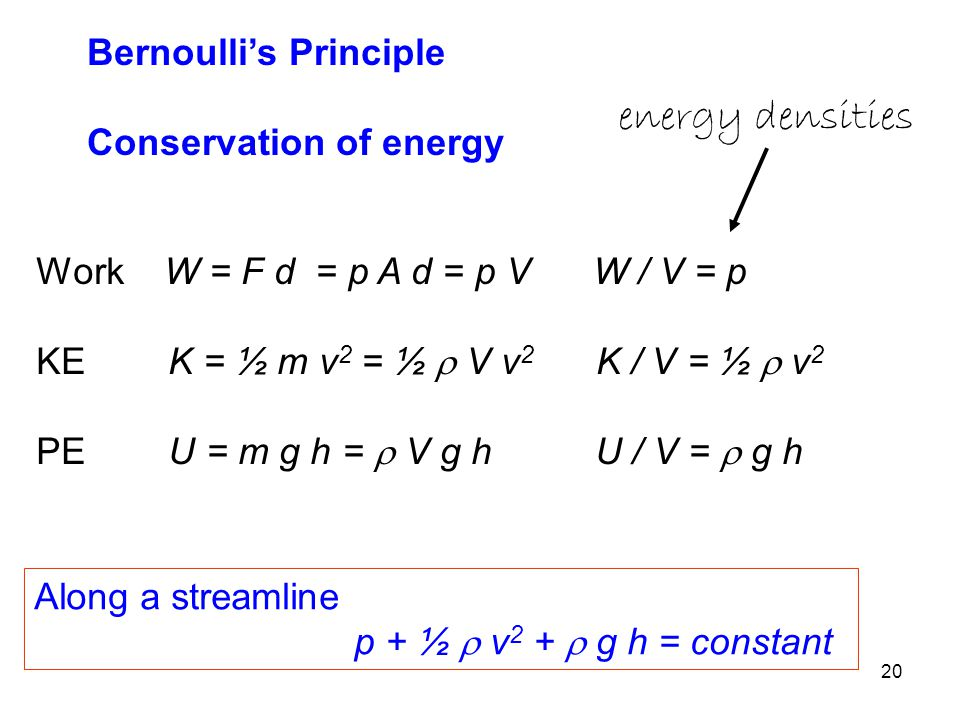 energy densities Bernoulli's Principle Conservation of energy