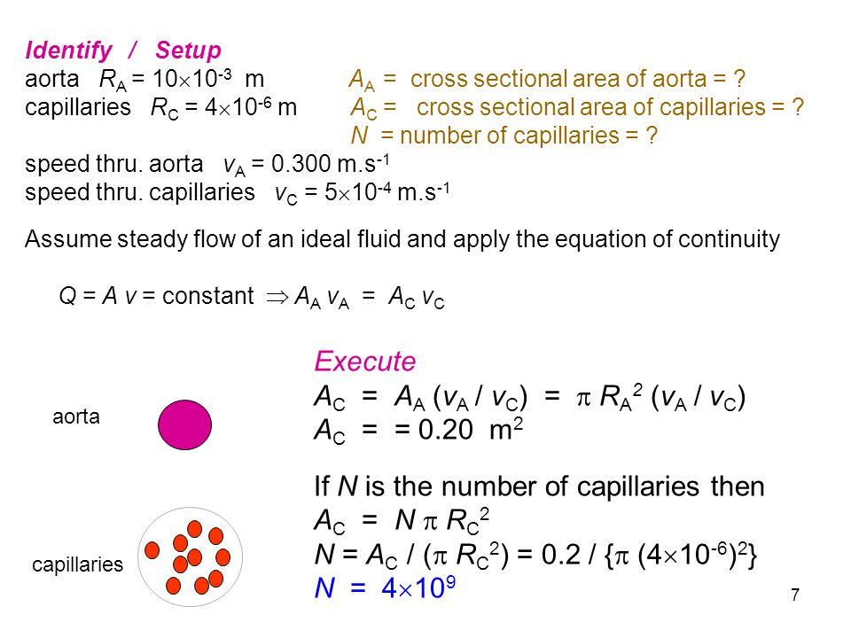 AC = AA (vA / vC) =  RA2 (vA / vC) AC = = 0.20 m2