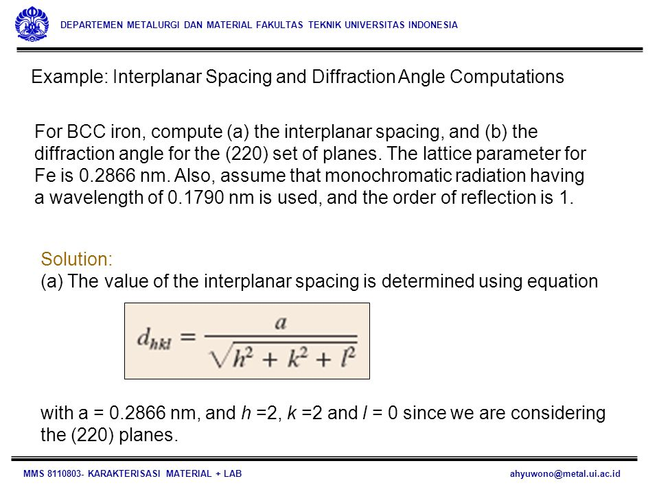 Example: Interplanar Spacing and Diffraction Angle Computations