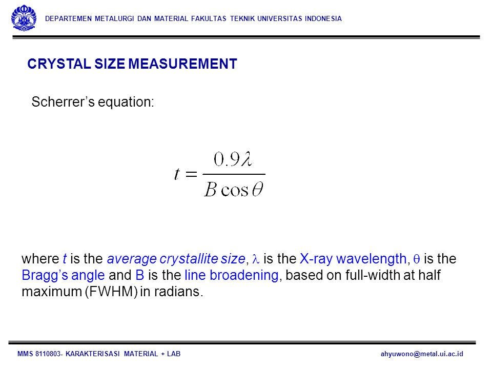 CRYSTAL SIZE MEASUREMENT