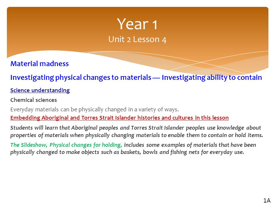 Year 1 Unit 2 Lesson 4 Material madness