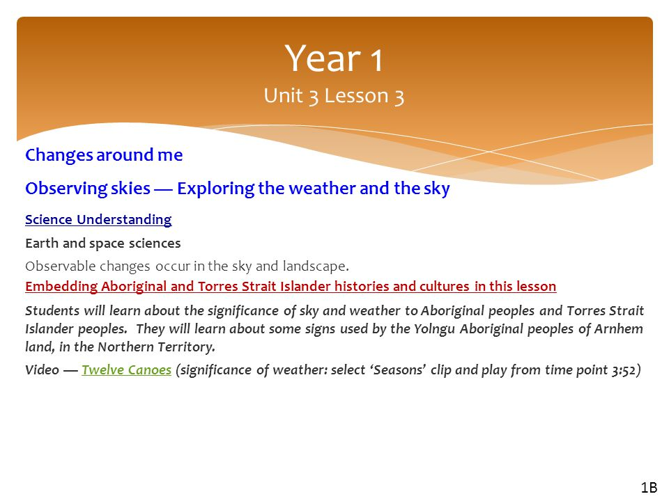 Year 1 Unit 3 Lesson 3 Changes around me