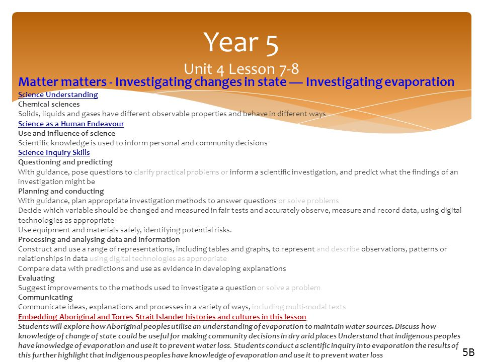 Year 5 Unit 4 Lesson 7-8 Matter matters - Investigating changes in state — Investigating evaporation.