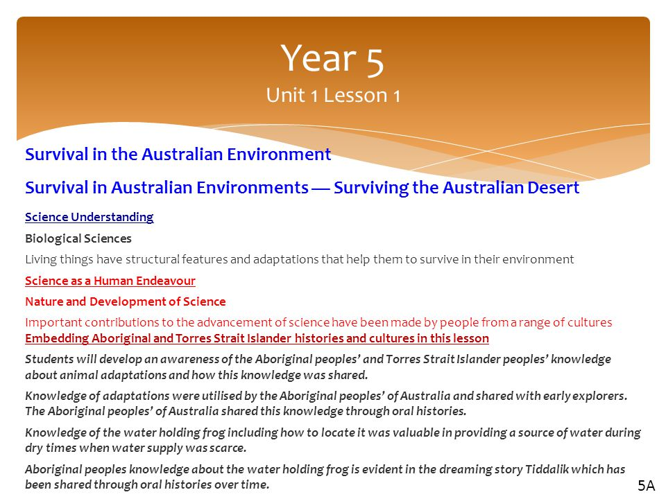 Year 5 Unit 1 Lesson 1 Survival in the Australian Environment