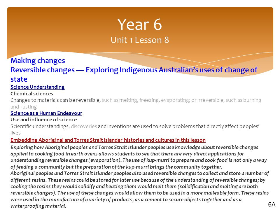 Year 6 Unit 1 Lesson 8 Making changes