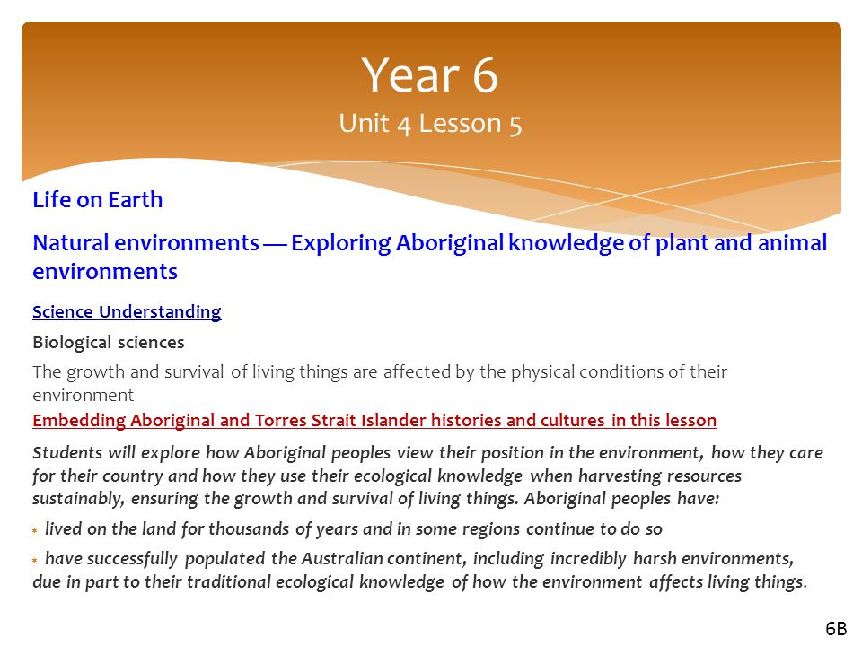 Year 6 Unit 4 Lesson 5 Life on Earth