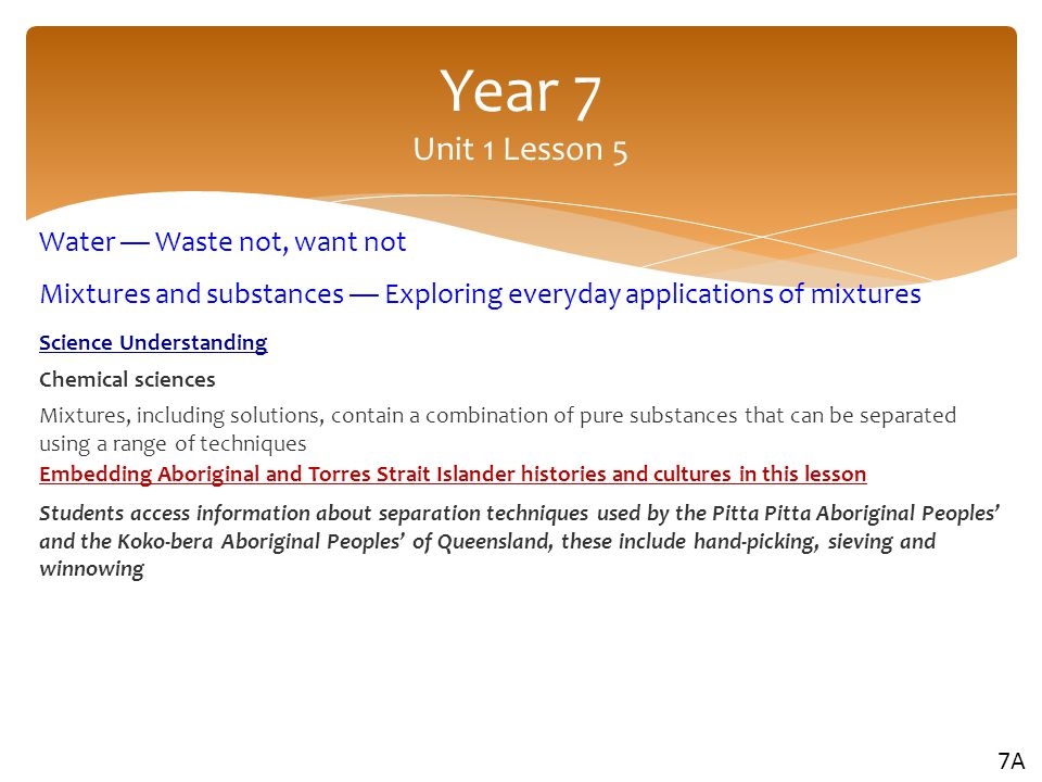 Year 7 Unit 1 Lesson 5 Water — Waste not, want not