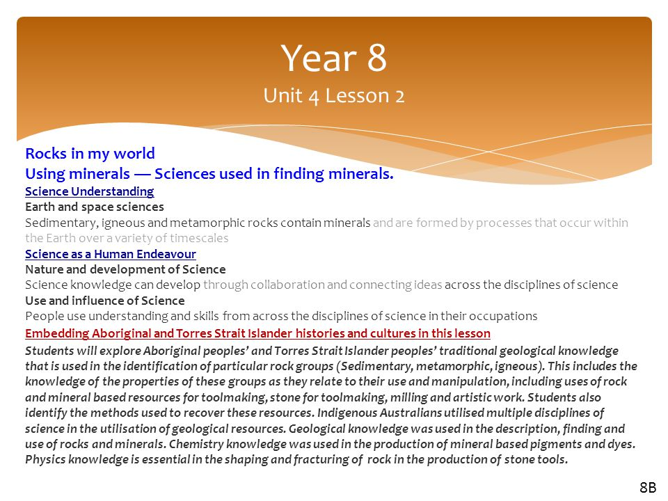 Year 8 Unit 4 Lesson 2 Rocks in my world