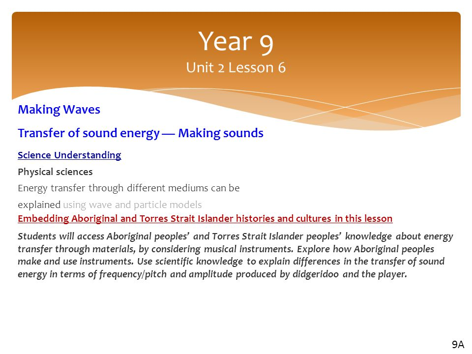 Year 9 Unit 2 Lesson 6 Making Waves