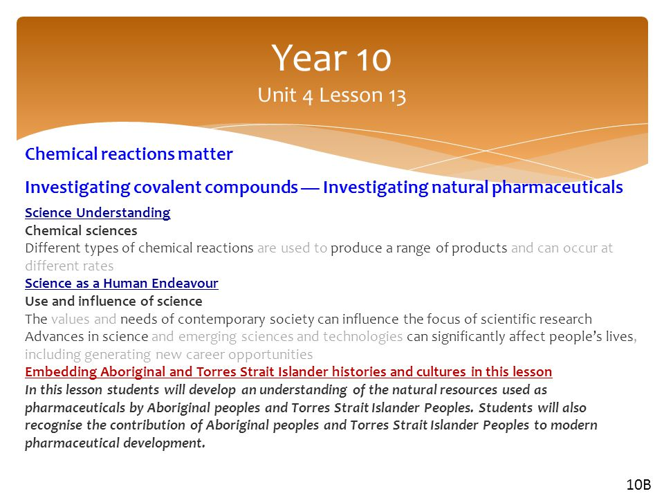 Year 10 Unit 4 Lesson 13 Chemical reactions matter