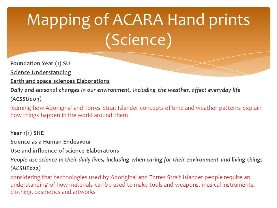 Mapping of ACARA Hand prints (Science)