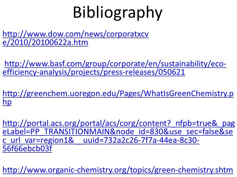 Bibliography http://www.dow.com/news/corporatxcv e/2010/20100622a.htm
