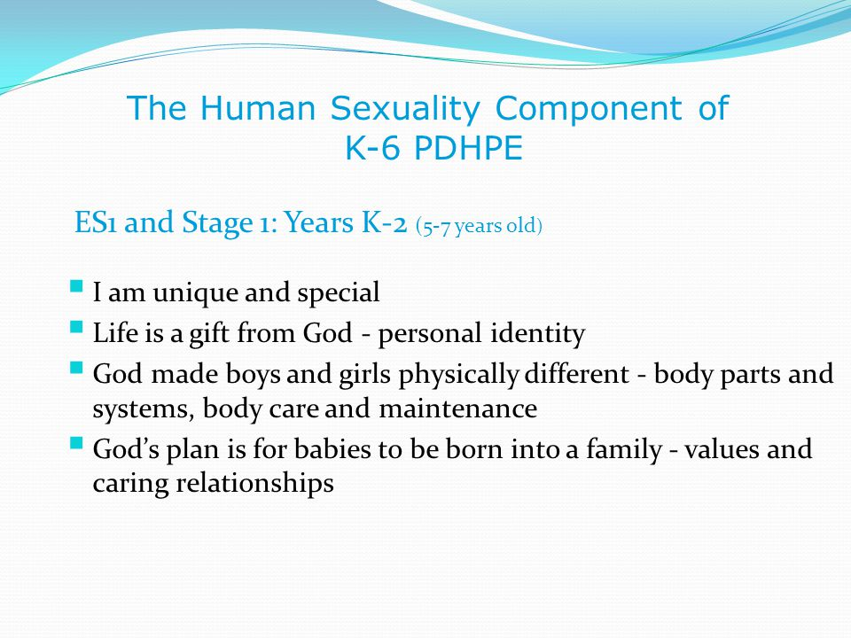 The Human Sexuality Component of K-6 PDHPE