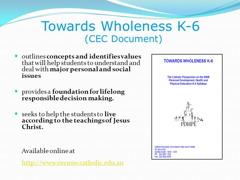 Towards Wholeness K-6 (CEC Document)